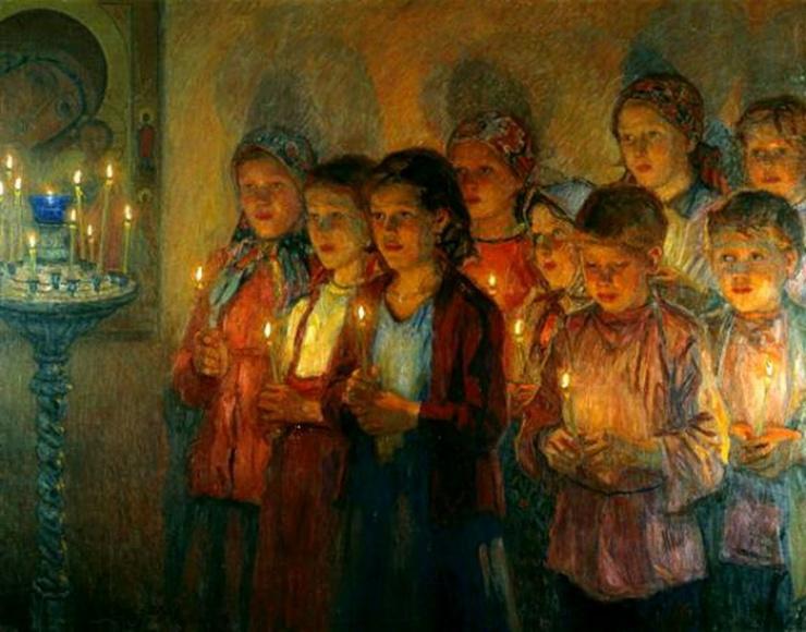 В церкви. Н.П.Богданов-Бельский 1933 г.