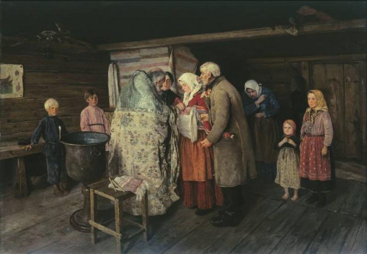 Крестины. Петр Иванович Коровин 1896 г.