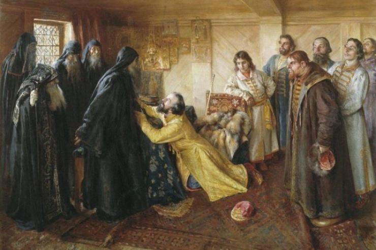 Царь Иван Грозный просит игумена Корнилия пострич его в монахи. Лебедев К.В.