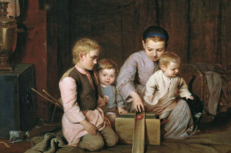 Дети, катающие пасхальные яйца. Кошелев Н. А.