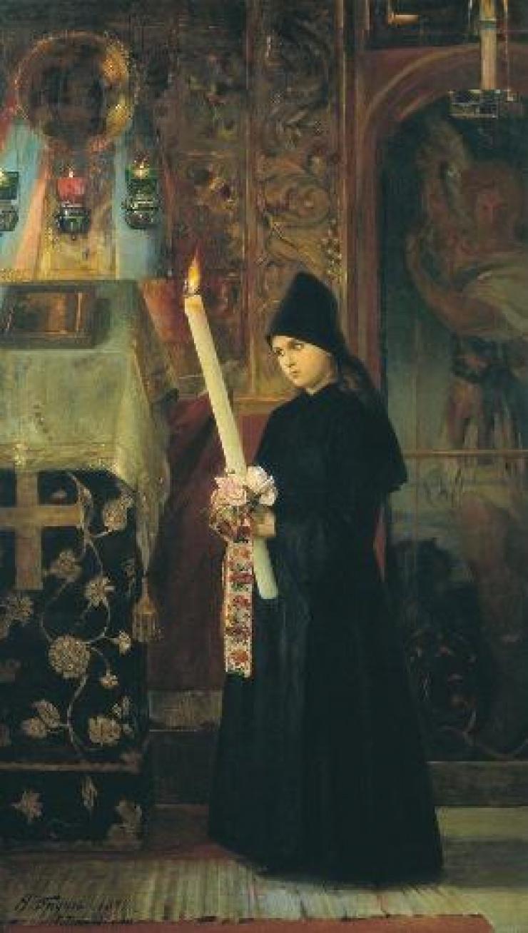 Свеченосица (В монастыре). Бруни Н.А. 1891 г.